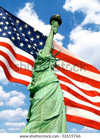 Statue of Liberty over the American Flag - stock photo
