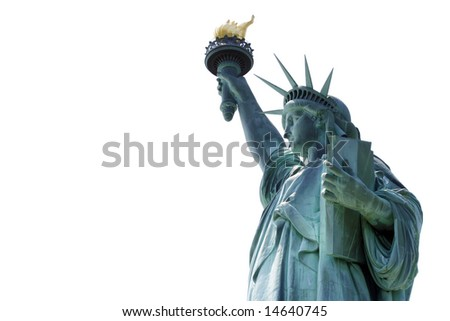 Statue of Liberty over white background with empty space on left hand side. - stock photo