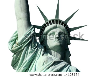 Statue of Liberty's Face Isolated on White - stock photo