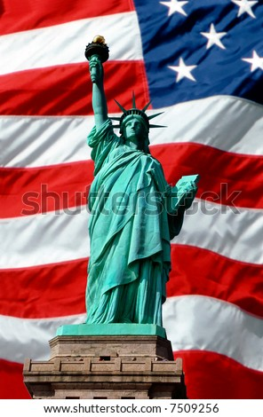Statue of Liberty superimposed over waving American flag - stock photo