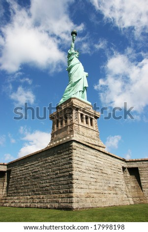 Statue of liberty view from below - stock photo