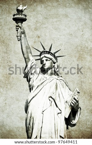 Statue of Liberty vintage postcard - stock photo