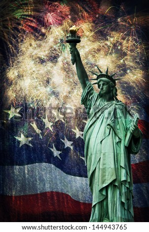 Statue of Liberty with a flag and fireworks in the background. Given a grunge look for an aged effect.  Nice patriotic image for Independence Day, Memorial Day, Veterans Day and Presidents Day. - stock photo
