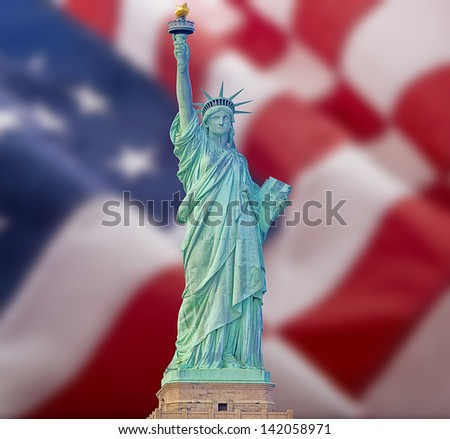 Statue of liberty with American flag background - stock photo