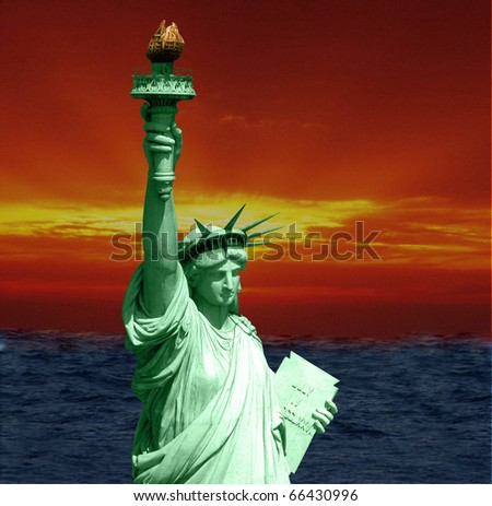 Statue of liberty with an artistic background - stock photo