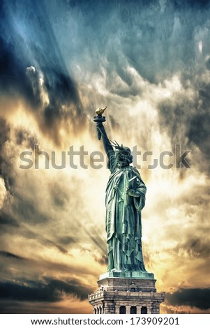 Statue of Liberty with beautiful sky. - stock photo