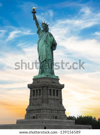 Statue of Liberty with beautifull sky. - stock photo