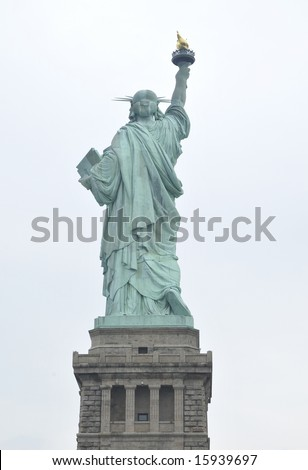 Statue of Liberty with her back turned - stock photo