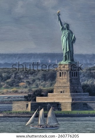 Statue of Liberty with Schooner - stock photo