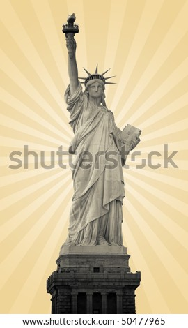 statue of liberty with sun rays in the background, vintage - stock photo