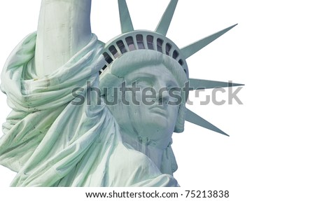 Statue of liberty with tear drop isolated on white