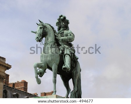 Statue of Louis XIV, king of France in Versailles, France