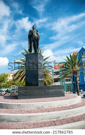 Statue of Luis Brion at Otrobanda waterfront in Willemstad, Curacao, Caribbean - stock photo