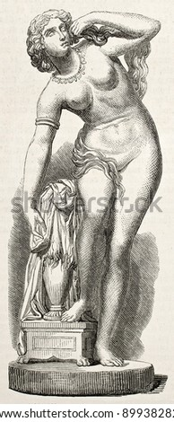 Statue of Lyssia, queen of Lydie. Sculpted by Lepere, published on L'Illustration, Journal Universel, Paris, 1858