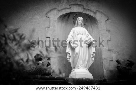 Statue of Madonna with stars nimbus on front of Cathedral of Notre Dame of Assumption in Entraveaux (Alpes de Haute Provence, France) and olive tree at foreground. Selective focus on statue. Vignette. - stock photo