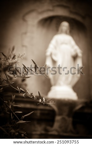 Statue of Madonna with stars nimbus on front of Cathedral of Notre Dame of Assumption in Entraveaux (Alpes de Haute Provence, France) and olive tree at foreground. Selective focus on tree. Vignette. - stock photo