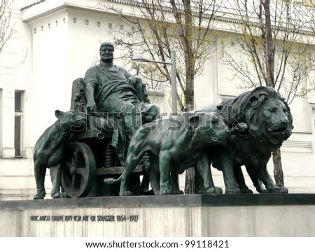 Statue of Marcus Antonius by Arthur Strasser beside Secession building in Vienna in Austria