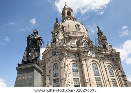 Statue of Martin Luther in front of the Frauenkirche in Dresden, Germany - stock photo