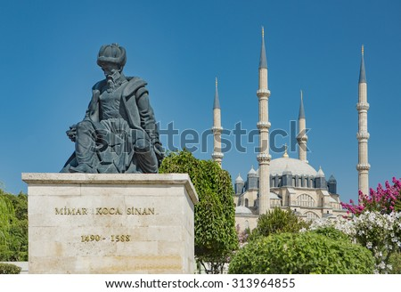 Statue of Master Ottoman Architect Sinan and his finest mosque Selimiye on the background in Edirne Turkey - stock photo