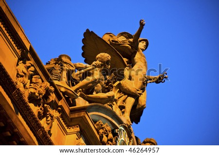 Statue of Mecury at the Grand Central Station in New York City. - stock photo
