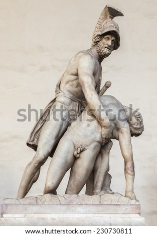 Statue of Menelaus holding the dead Patroclus in the Loggia dei Lanzi in Florence, Italy. - stock photo