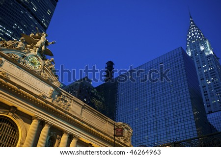 Statue of Mercury at Grand Central Terminal in New York City, with the Chrysler Building in the background - stock photo