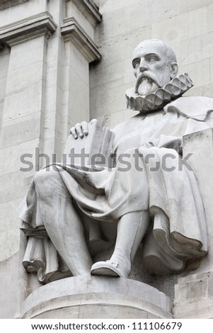 """Statue of Miguel de Cervantes Saavedra, famous spanish writer, autor of novel """"Don Quixote"""", placed on great monument on Plaza de Espana in Madrid, Spain - stock photo"""