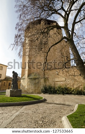 Statue of Miguel de Unamuno, Salamanca, made in 1968. In Bordadores Street, opposite the Convent of St. Ursula and front of the house where he lived and died. - stock photo