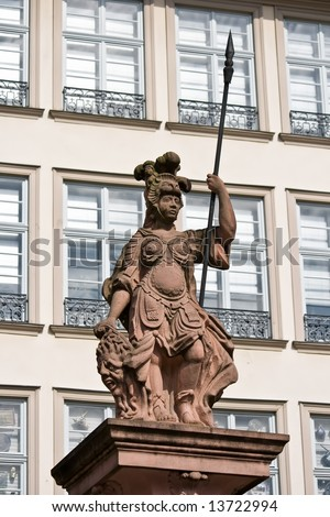 Statue of Minerva, ancient goddess of wisdom and warriors. Taken in Frankfurt, Germany.