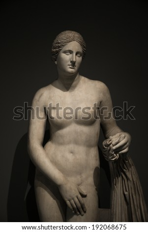 Statue of nacked Venus at black background , Rome, Italy, 2014 - stock photo