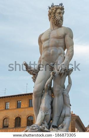 Statue of Neptun in Florence landmark, Italy - stock photo