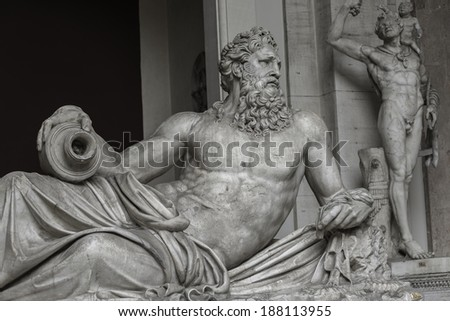 Statue of Neptune at Capitoline, Rome, Italy, 2014 - stock photo