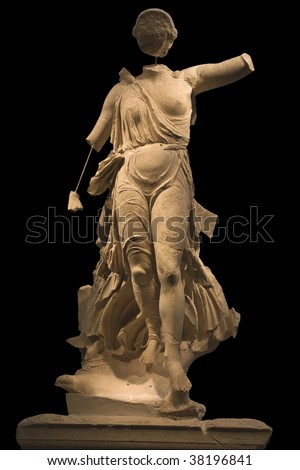 Statue of Nike of Paionios at archaeological museum in ancient Olympia at Greece - stock photo