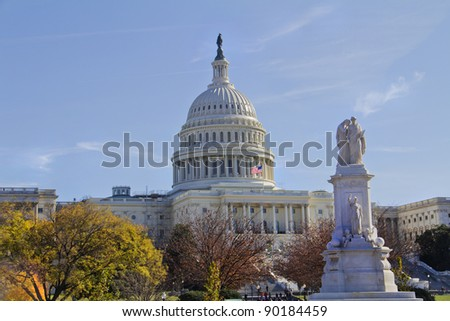Statue of Peace and US Capitol Building in Washington DC - stock photo