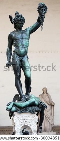 Statue of Perseus slaying Medusa - Loggia del Lanzi (Piazza della Signoria), Firenze, Italy - stock photo
