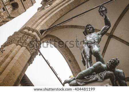 Statue of Perseus With the Head of Medusa at Piazza Della Signoria, Florence, Italy - stock photo