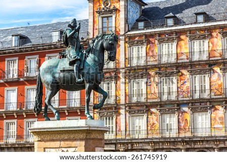 Statue of Philip III at Mayor plaza in Madrid in a beautiful summer day, Spain - stock photo