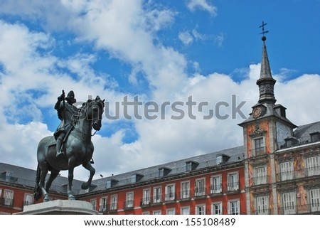 Statue of Philip III at  Plaza Mayor (Main Square) in Madrid, Spain.  - stock photo