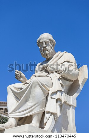 statue of Plato,the Academy of Athens,Greece - stock photo