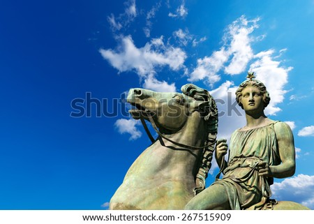 Statue of Pollux - Torino Italy. Equestrian statue of Pollux, in the Royal Palace (Palazzo Reale) in Turin (Torino), Piedmont (Piemonte), Italy - stock photo