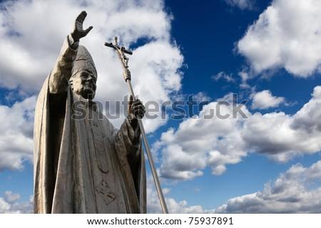 Statue of Pope John Paul II - stock photo