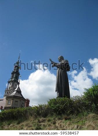 statue of Pope John Paul II at the Shrine of Our Lady of Czestochowa Jasna Gora, Czestochowa in Poland - stock photo