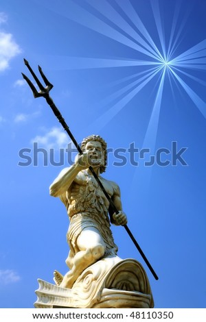 Statue Of Poseidon with copy space - stock photo