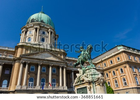 Statue of Prince Eugene of Savoy in the court of Buda castle in Budapest Hungary - stock photo