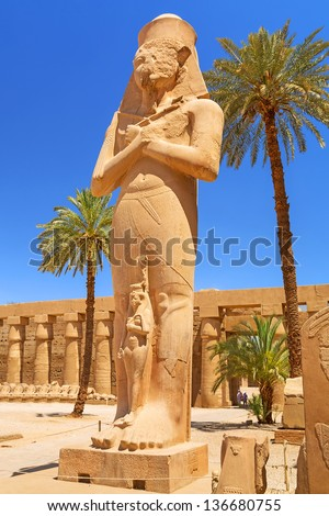 Statue of Ramesses II in Karnak temple in Luxor, Egypt - stock photo