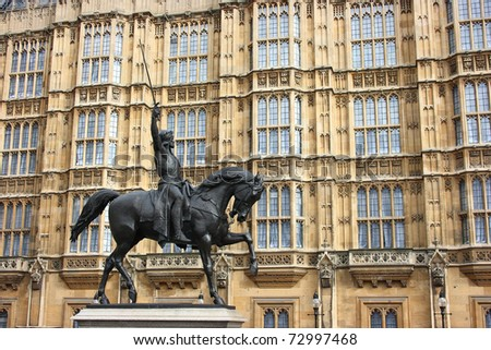 Statue of Richard The Lionheart outside the houses of Parliament, London, England - stock photo