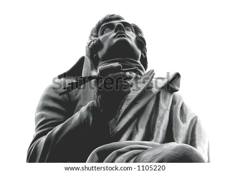 Statue of Robert Burns in London isolated on white - stock photo