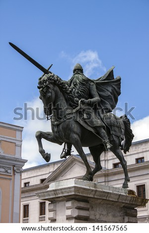 Statue of Rodrigo D�az de Vivar el Cid, Burgos, Spain - stock photo