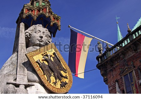 Statue of Roland and the city hall in Bremen, Germany - stock photo