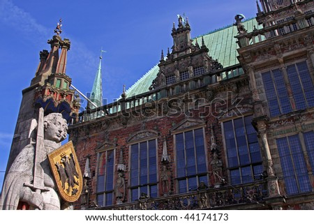 Statue of Roland in Bremen, Germany - stock photo